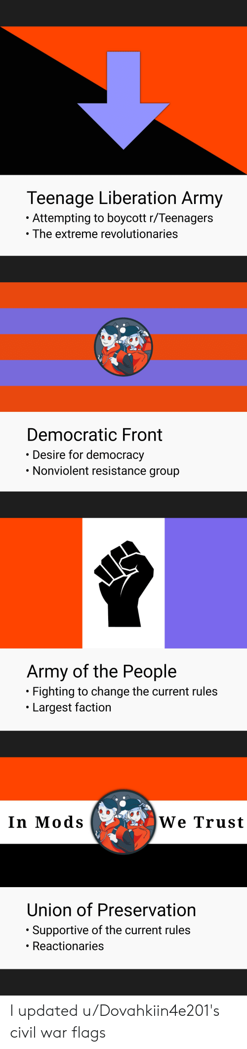 Army, Civil War, and Change: Teenage Liberation Army  Attempting to boycott r/Teenagers  The extreme revolutionaries  Democratic Front  Desire for democracy  Nonviolent resistance group  Army of the People  Fighting to change the current rules  Largest faction  We Trust  In Mods  Union of Preservation  Supportive of the current rules  Reactionaries I updated u/Dovahkiin4e201's civil war flags