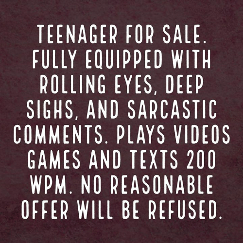 rolling eyes: TEENAGER FOR SALE  FULLY EQUIPPED WIT  ROLLING EYES, DEEP  SIGHS, AND SARCASTIC  COMMENTS. PLAYS VIDEOS  GAMES AND TEXTS 200  WPM. NO REASONABLE  OFFER WILL BE REFUSED