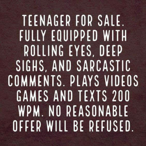 rolling eyes: TEENAGER FOR SALE  FULLY EQUIPPED WITH  ROLLING EYES, DEEP  SIGHS, AND SARCASTIC  COMMENTS. PLAYS VIDEOS  GAMES AND TEXTS 200  WPM. NO REASONABLE  OFFER WILL BE REFUSED