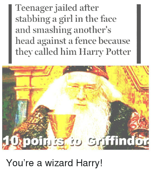 Harry Potter, Head, and Girl: Teenager jailed after  stabbing a girl in the face  and smashing anothers  head against a fence because  they called him Harry Potter  poi  ffind You're a wizard Harry!