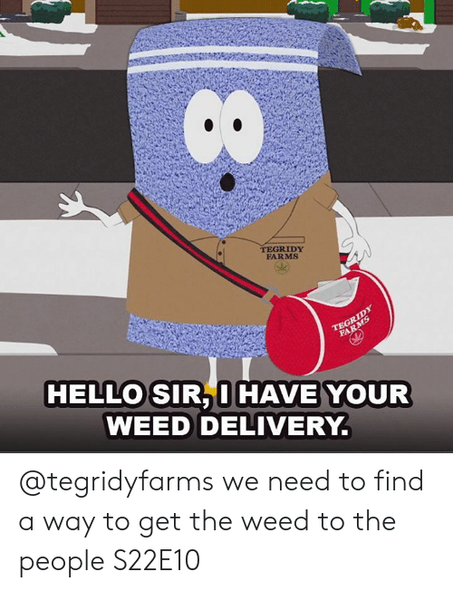 Dank, Hello, and Weed: TEGRIDY  FARMS  HELLO SIR, I HAVE YOUR  WEED DELIVERY. @tegridyfarms we need to find a way to get the weed to the people   S22E10