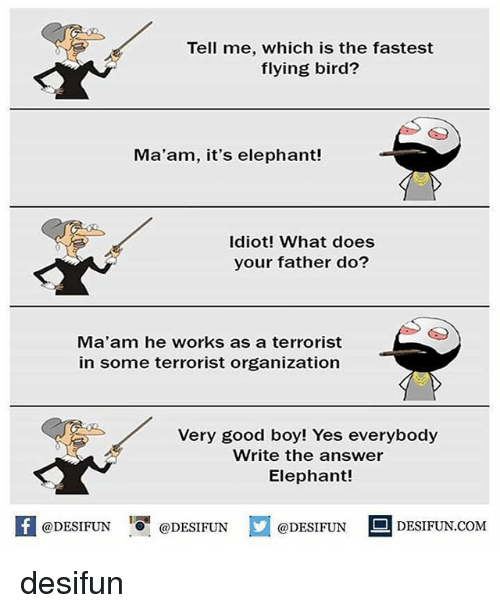 MêMes: Tell me, which is the fastest  flying bird?  Ma'am, it's elephant!  Idiot! What does  your father do?  Ma'am he works as a terrorist  in some terrorist organization  Very good boy! Yes everybody  Write the answer  Elephant!  K @DESIFUN 증@DESIFUN  @DESIFUNDESIFUN.COM desifun