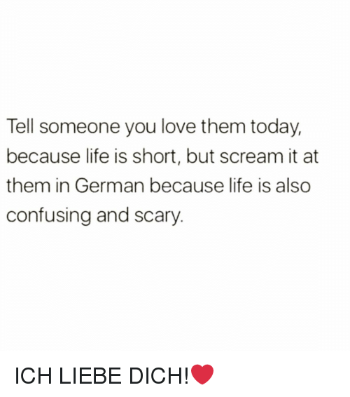 dich: Tell someone you love them today,  because life is short, but scream it at  them in German because life is also  confusing and scary ICH LIEBE DICH!❤️