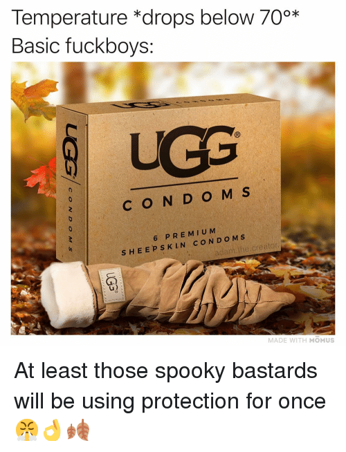 Memes, Ugg, and Spooky: Temperature *drops below 70%*  Basic fuckboys:  UGG  C O N D O M S  6 PREM IU M  S HEEPS K LN COND O M S  adam.the.creator  MADE WITH MOMUS At least those spooky bastards will be using protection for once 😤👌🍂