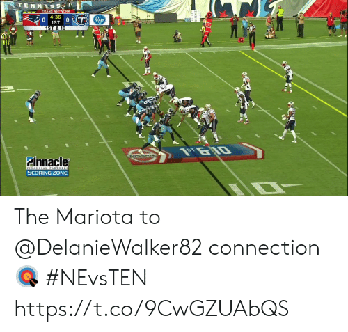 Memes, Kroger, and Nissan: TENNESS  TITANS NETWORK  4:36  1ST 0T  1ST & 10  Kroger  NISSAN  Pinnacler  FINANCIAL PARTNERS  SCORING ZONE The Mariota to @DelanieWalker82 connection 🎯  #NEvsTEN https://t.co/9CwGZUAbQS