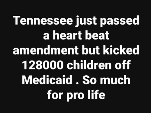 Pro Life: Tennessee just passed  a heart beat  amendment but kickec  128000 children off  Medicaid. So much  for pro life