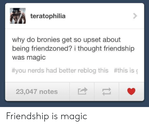 Magic, Friendship, and Thought: teratophilia  why do bronies get so upset about  being friendzoned? i thought friendship  was magic  #you nerds had better reblog this #this is (  23,047 notes Friendship is magic