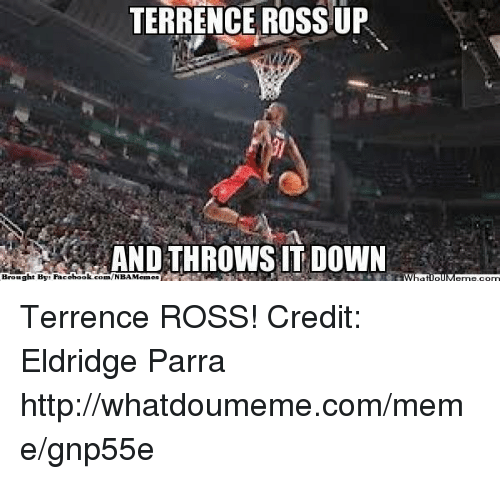 terrence ross: TERRENCE ROSS UP  AND THROWS IT DOWN  Brought By: Pacebook.com/NBAMemes Terrence ROSS! Credit: Eldridge Parra  http://whatdoumeme.com/meme/gnp55e