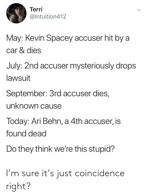 Terri: Terri  @Intuition412  May: Kevin Spacey accuser hit by a  car & dies  July: 2nd accuser mysteriously drops  lawsuit  September: 3rd accuser dies,  unknown cause  Today: Ari Behn, a 4th accuser, is  found dead  Do they think we're this stupid? I'm sure it's just coincidence right?