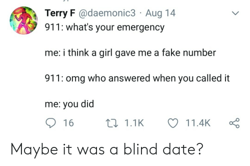 Fake, Omg, and Date: Terry F @daemonic3 Aug 14  911: what's your emergency  me: i think a girl gave me a fake number  911: omg who answered when you called it  me: you did  16  11.1K  11.4K Maybe it was a blind date?