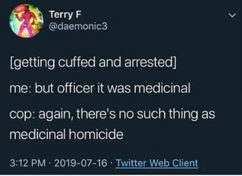 Twitter, Cop, and Web: Terry F  @daemonic3  [getting cuffed and arrested]  me: but officer it was medicinal  cop: again, there's no such thing as  medicinal homicide  3:12 PM 2019-07-16 Twitter Web Client