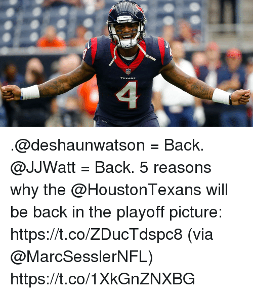Memes, Texans, and Back: TEXANS .@deshaunwatson = Back. @JJWatt = Back.  5 reasons why the @HoustonTexans will be back in the playoff picture: https://t.co/ZDucTdspc8 (via @MarcSesslerNFL) https://t.co/1XkGnZNXBG
