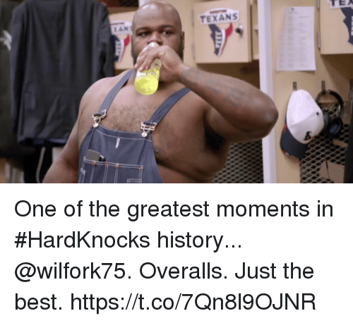 Just The Best: TEXANS One of the greatest moments in #HardKnocks history...  @wilfork75. Overalls. Just the best. https://t.co/7Qn8l9OJNR