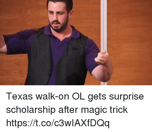 Memes, Magic, and Texas: Texas walk-on OL gets surprise scholarship after magic trick https://t.co/c3wIAXfDQq