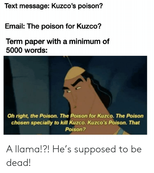 Email, Text, and Poison: Text message: Kuzco's poison?  Email: The poison for Kuzco?  Term paper with a minimum of  5000 words:  Oh right, the Poison. The Poison for Kuzco. The Poison  chosen specially to kill Kuzco. Kuzco's Poison. That  Poison? A llama!?! He's supposed to be dead!