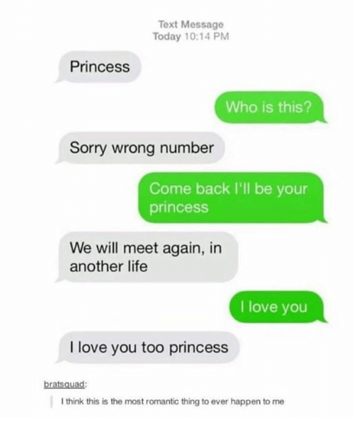 Life, Love, and Sorry: Text Message  Today 10:14 PM  Princess  Who is this?  Sorry wrong number  Come back I'll be your  princess  We will meet again, in  another life  I love you  I love you too princess  bratsquad  I think this is the most romantic thing to ever happen to me