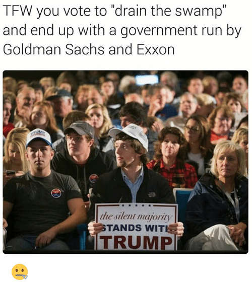 "Memes, Tfw, and Goldman Sachs: TFW you vote to ""drain the swamp""  and end up with a government run by  Goldman Sachs and Exxon  the silent majority  TANDS WIT  TRUMP 🤐"