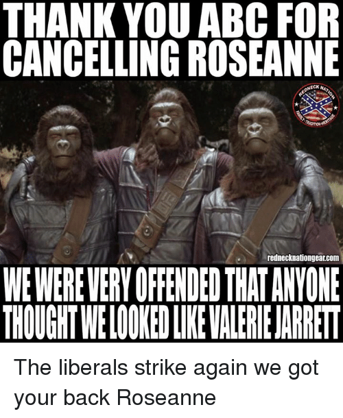 got your back: THANK YOU ABC FOR  CANCELLING ROSEANNE  NECK A  rednecknationgear.com  WE WEREVERY OFFENDED THAT ANYONE  THOUGHT WELOOKED LIKE VALERIE JARRET The liberals strike again we got your back Roseanne