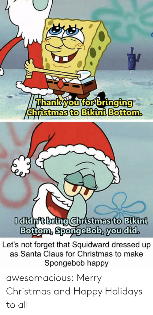 Dressed: Thank you for bringing  christmas to Bikini Bottom.  I didn't bring Christmas to Bikini  Bottom, SpongeBob, you did.  forget that Squidward dressed up  as Santa Claus for Christmas to make  Let's  Spongebob happy awesomacious:  Merry Christmas and Happy Holidays to all