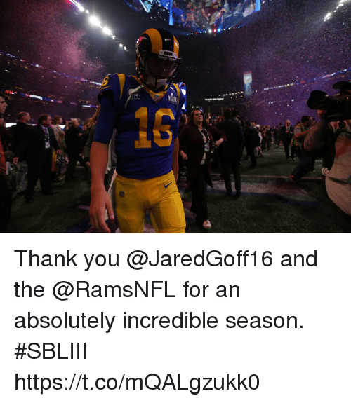 Memes, Thank You, and 🤖: Thank you @JaredGoff16 and the @RamsNFL for an absolutely incredible season. #SBLIII https://t.co/mQALgzukk0