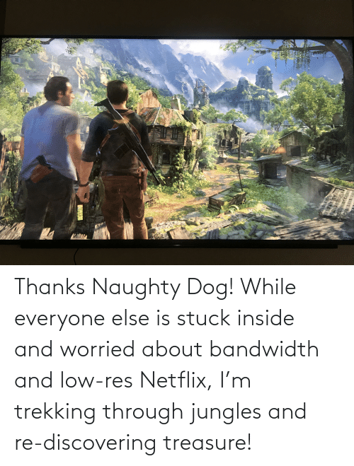 Jungles: Thanks Naughty Dog! While everyone else is stuck inside and worried about bandwidth and low-res Netflix, I'm trekking through jungles and re-discovering treasure!