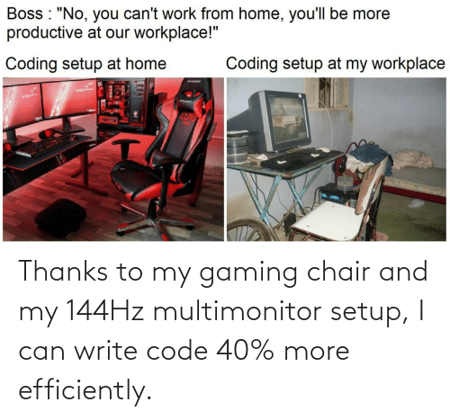 Chair: Thanks to my gaming chair and my 144Hz multimonitor setup, I can write code 40% more efficiently.