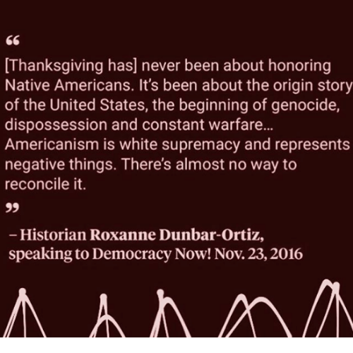 Thanksgiving, United, and White: [Thanksgiving has] never been about honoring  Native Americans. It's been about the origin story  of the United States, the beginning of genocide,  dispossession and constant warfare...  Americanism is white supremacy and represents  negative things. There's almost no way to  reconcile it.  Historian Roxanne Dunbar-Ortiz,  speaking to Democracy Now! Nov. 23,2016