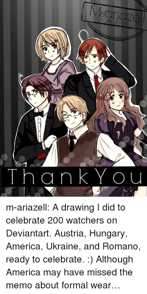 America, Bailey Jay, and Target: ThankYou m-ariazell: A drawing I did to celebrate 200 watchers on Deviantart. Austria, Hungary, America, Ukraine, and Romano, ready to celebrate. :)  Although America may have missed the memo about formal wear…
