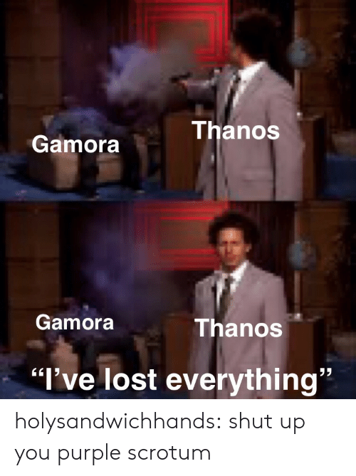 "Shut Up, Tumblr, and Lost: ThanoS  Gamora  Gamora  Thanos  32  ""l've lost everything"" holysandwichhands:  shut up you purple scrotum"