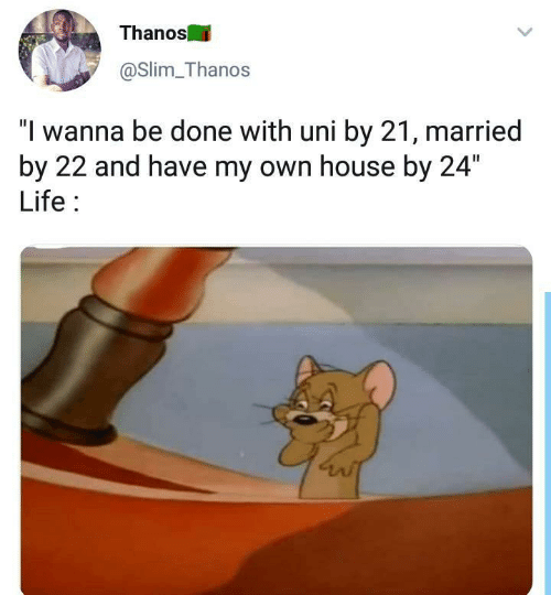 """Life, House, and Thanos: Thanos  @Slim Thanos  """"I wanna be done with uni by 21, married  by 22 and have my own house by 24""""  Life"""