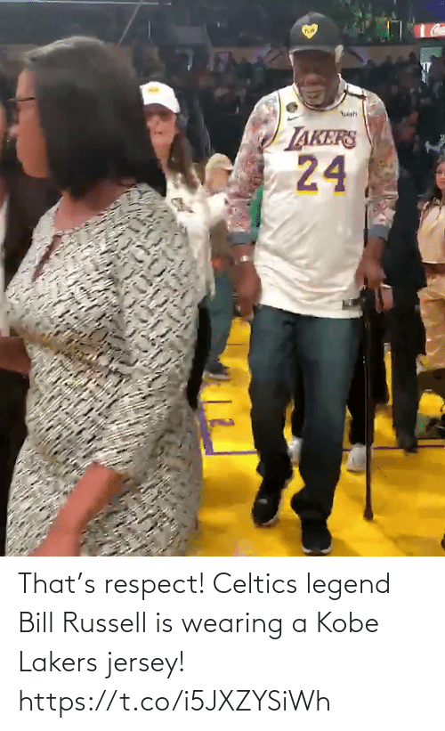 Kobe: That's respect! Celtics legend Bill Russell is wearing a Kobe Lakers jersey!   https://t.co/i5JXZYSiWh