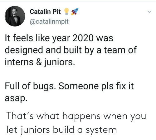 system: That's what happens when you let juniors build a system