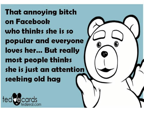 Memes, Ted, and Ecards: That annoying bitch  on Facebook  who thinks she is so  popular and everyone  loves her... But really  most people thinks  she is just an attention  seeking old hag  ted ecards  tedi real.com