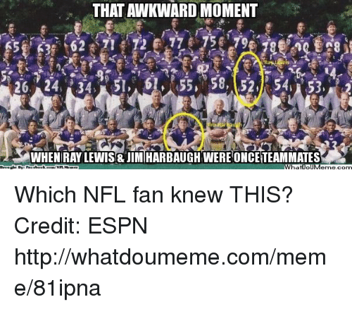 nfl fan: THAT AWKWARD MOMENT  26, 24, 34, 0055 58, 52,k 54 S3,  What ollM Which NFL fan knew THIS? Credit: ESPN  http://whatdoumeme.com/meme/81ipna