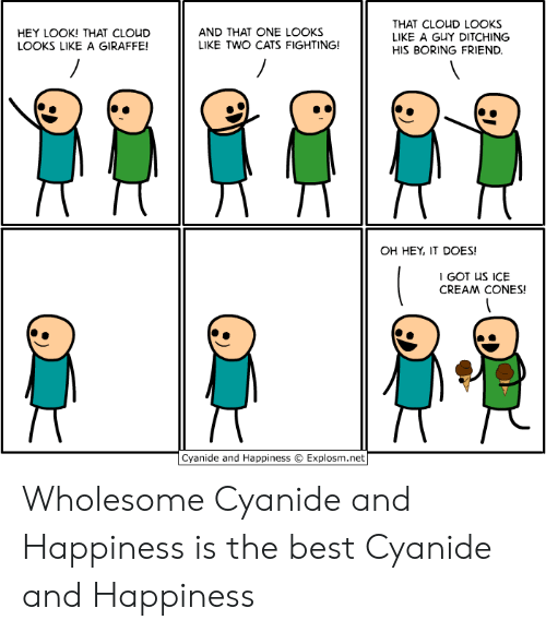 Happiness Is: THAT CLOUD LOOKS  LIKE A GUY DITCHING  AND THAT ONE LOOKS  LIKE TWO CATS FIGHTING!  HEY LOOK! THAT CLOUD  LOOKS LIKE A GIRAFFE!  HIS BORING FRIEND.  OH HEY, IT DOES!  I GOT US ICE  CREAM CONES!  Cyanide and Happiness  Explosm.net Wholesome Cyanide and Happiness is the best Cyanide and Happiness