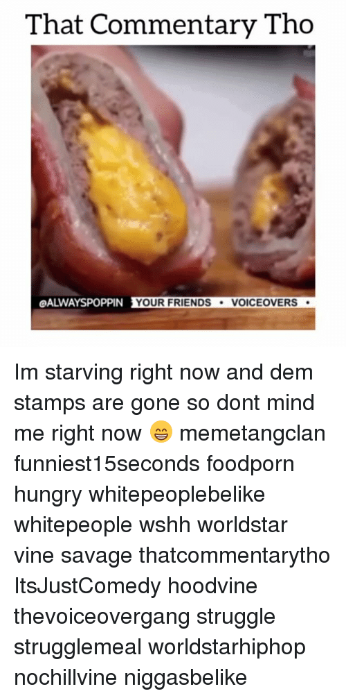 Hungry, Memes, and Struggle: That Commentary Tho  OALWAYSPOPPIN YOUR FRIENDS  VOICE OVERS Im starving right now and dem stamps are gone so dont mind me right now 😁 memetangclan funniest15seconds foodporn hungry whitepeoplebelike whitepeople wshh worldstar vine savage thatcommentarytho ItsJustComedy hoodvine thevoiceovergang struggle strugglemeal worldstarhiphop nochillvine niggasbelike