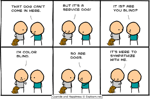 color blind: THAT DOG CAN'T  COME IN HERE.  BUT IT'S A  SERVICE DOG!  IT ISP ARE  YOU BLIND?  'M COLOR  BLIND  SO ARE  DOGS.  ITS HERE TO  SYMPATHIZE  WITH ME.  Cyan.de and Happiness © Explosm.net「