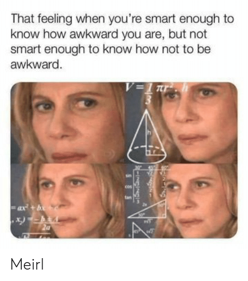 Feeling When: That feeling when you're smart enough to  know how awkward you are, but not  smart enough to know how not to be  awkward.  V=1 r  tan  ax+b  -INGINS  SSS Meirl