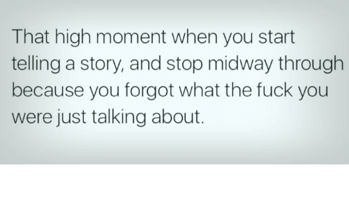 midway: That high moment when you start  telling a story, and stop midway through  because you forgot what the fuck you  were just talking about.