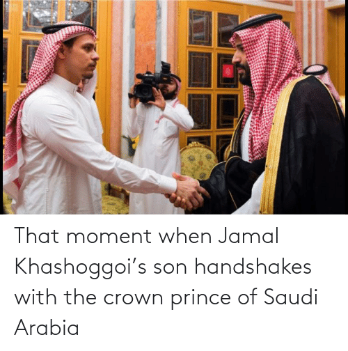 that moment when: That moment when Jamal Khashoggoi's son handshakes with the crown prince of Saudi Arabia