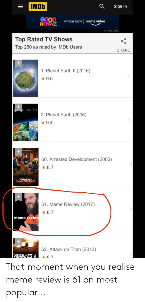 that moment when: That moment when you realise meme review is 61 on most popular...