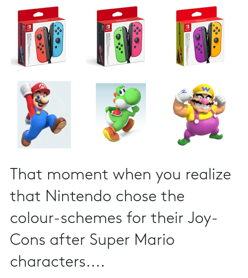 that moment when: That moment when you realize that Nintendo chose the colour-schemes for their Joy-Cons after Super Mario characters....