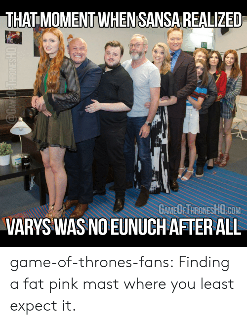 Mast: THAT MOMENT WHENSANSA REALIZED  GAMEOFTHRONESHO.COM  VARYS WAS NO EUNUCH AFTER ALL game-of-thrones-fans:  Finding a fat pink mast where you least expect it.