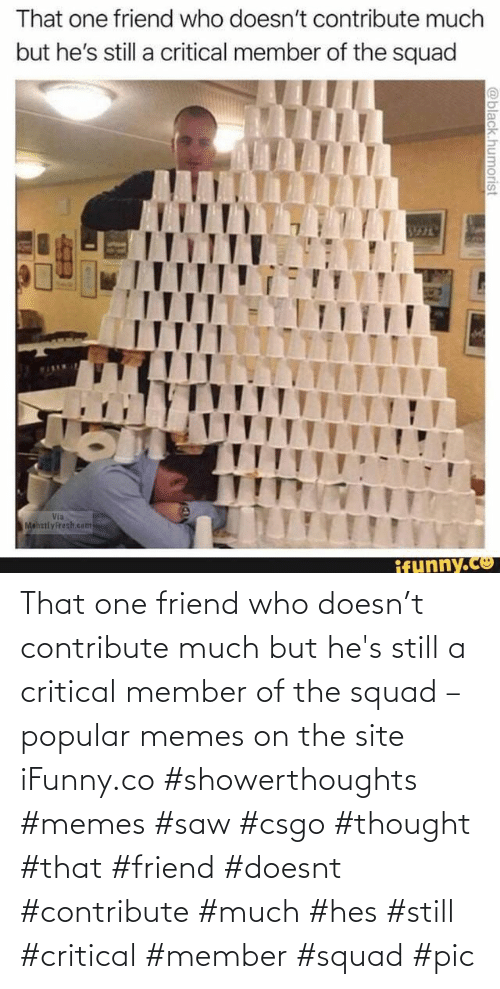 ifunny: That one friend who doesn't contribute much but he's still a critical member of the squad – popular memes on the site iFunny.co #showerthoughts #memes #saw #csgo #thought #that #friend #doesnt #contribute #much #hes #still #critical #member #squad #pic