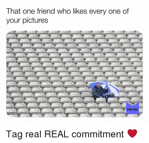 real real: That one friend who likes every one of  your pictures Tag real REAL commitment ❤️