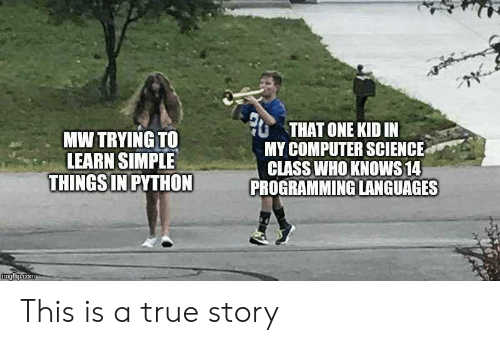A True Story: THAT ONE KID IN  MY COMPUTER SCIENCE  CLASS WHO KNOWS 14  PROGRAMMING LANGUAGES  MW TRYING TO  LEARN SIMPLE  THINGS IN PYTHON  imgflip.com This is a true story