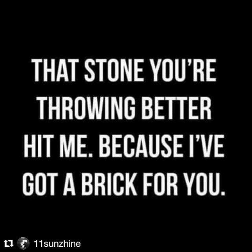 Me Because: THAT STONE YOU'RE  THROWING BETTER  HIT ME. BECAUSE I'VE  GOT A BRICK FOR YOU.  11sunzhine