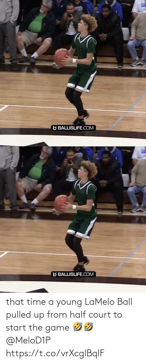 court: that time a young LaMelo Ball pulled up from half court to start the game 🤣🤣 @MeloD1P https://t.co/vrXcglBqIF