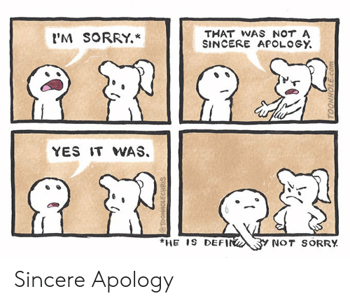 Apology: THAT WAS NOT A  SINCERE APOLOGY  'M SORRY.*  YES IT WAS.  *HE 1S DEFIN  Y NOT SORRY  @TOONHOLECHRIS  TOONHOLE.com Sincere Apology