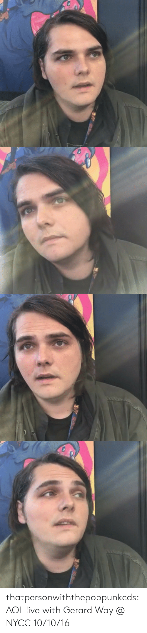 aol: thatpersonwiththepoppunkcds:  AOL live with Gerard Way @ NYCC 10/10/16